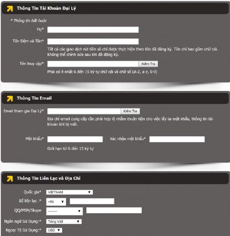 Điền thông tin đăng ký trở thành đại lý của M88