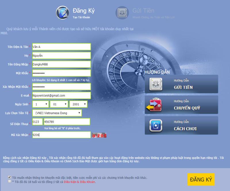 Hãy điền đầy đủ thông tin được yêu cầu để đăng ký tài khoản tại nhà cái M88
