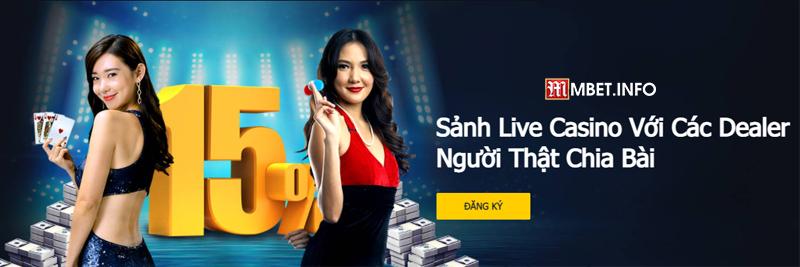 Nhà cái M88 có sảnh live casino với các dealer là người thật chia bài